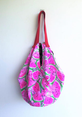 Summer origami shoulder bag, Watermelon summer bag, ooak handmade sac origami bag | Watermelon