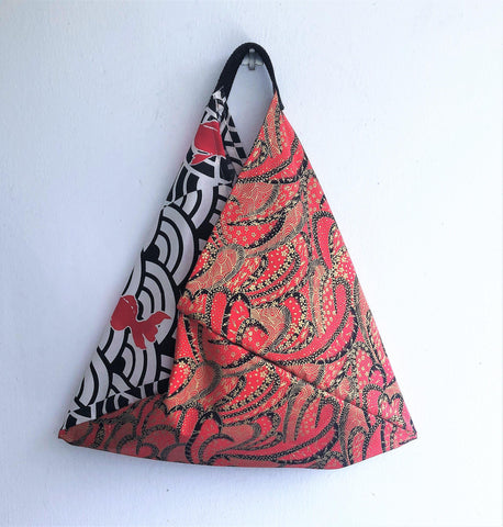 Japanese vibes tote bag, origami bento bag, triangle fabric handmade bag | Red waves