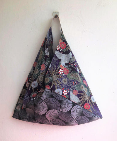 Japanese fabric bento bag, origami tote bag, handmade eco friendly triangle bag | Silver Crane