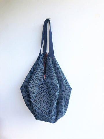 Origami shoulder sac bag, handmade reversible shopping eco bag | Essex Robert Kaufman