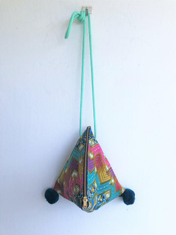 Shoulder evening batik triangle origami bag | Green Batik - jiakuma.myshopify.com