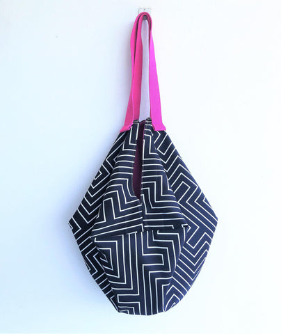 Shoulder origami fabric Japanese inspired large tote bag | Black & white lines Labyrinth - jiakuma.myshopify.com