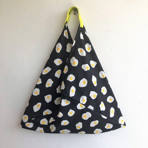 Shoulder origami bento bag, fabric cool print fried egg bag, cute summer tote triangle bag | Fried eggs are for summer