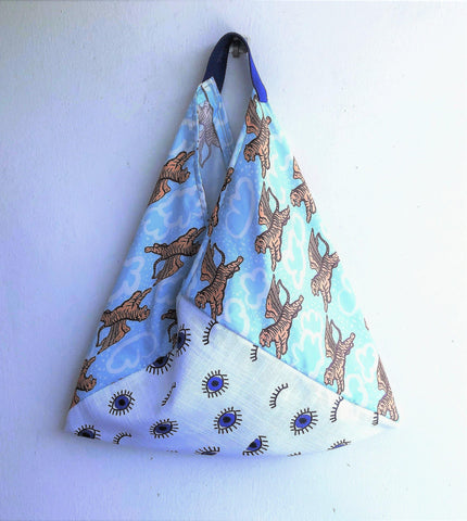 Bento summer bag, origami shoulder bag, one of a king tiger print eco bag | The eye of the flying tiger
