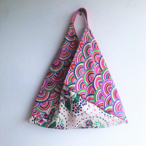 Shoulder ooak fabric origami tote bag, bento eco bag, handmade triangle tote | Shanghai & Rainbows