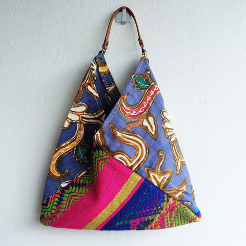 Original shoulder summer bag eco friendly | Balinese batik & Indian poncho -  bento bag