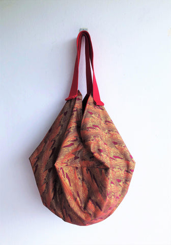 Shoulder origami bag, sac fabric reversible bag, eco friendly ooak handmade bag | Red Japanese Dunes