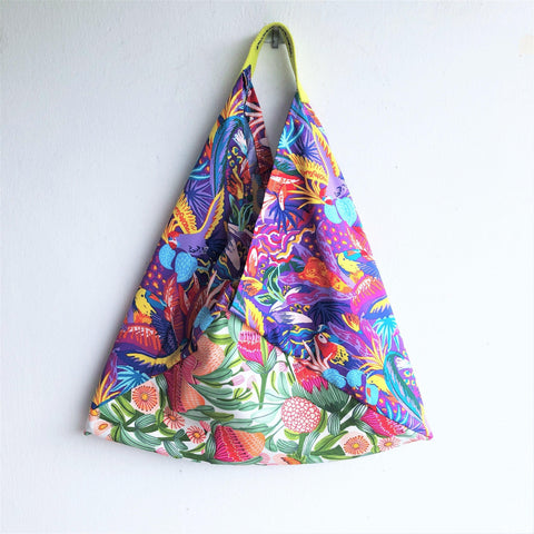 Summer origami bento bag, shoulder fabric cotton shopping bag | Flowers & Parrots