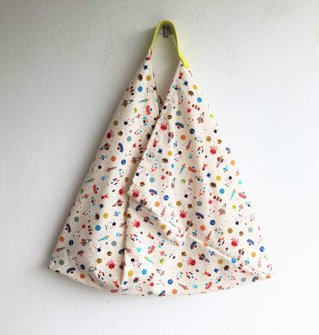 Origami cotton tote bag, shoulder triangle cute tote bag | Space invaders