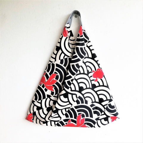 Orgami bento bag, shoulder Japanese inspired triangle bag | Japanese fish