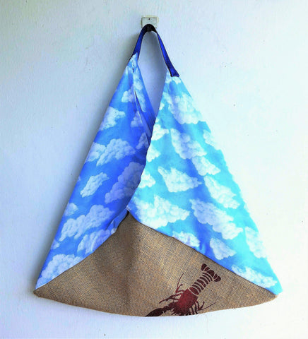 Eco friendly origami bento bag , triangle jute handmade cool bag | Red Lobster