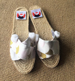 Summer shoes espadrilles handmade Japanese fabrics | Golden fish scales -  bento bag