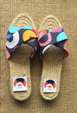 Espadrilles sandals handmade jute sole colorful textiles | Planet of colours -  bento bag