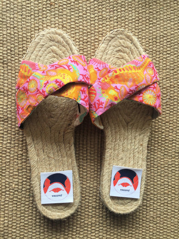 Jute sole espadrilles sandals handmade fabric shoes | Underwater world -  bento bag
