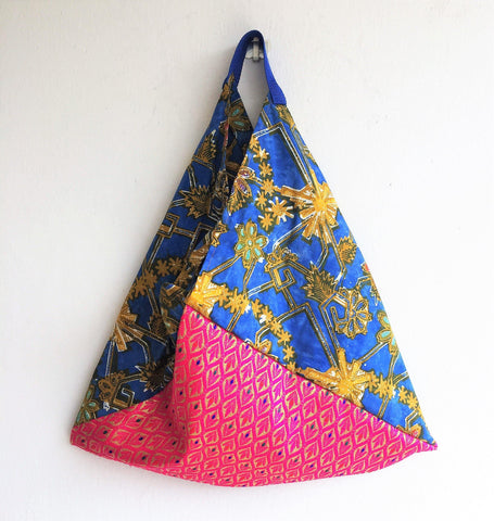 Batik fabric eco friendly reusable origami shoulder bento bag | Bright Batik - jiakuma.myshopify.com