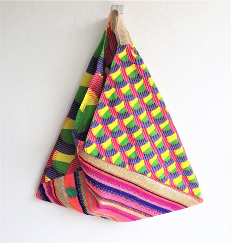 Colorful eco friendly bento bag | African & tassels boho bag -  bento bag