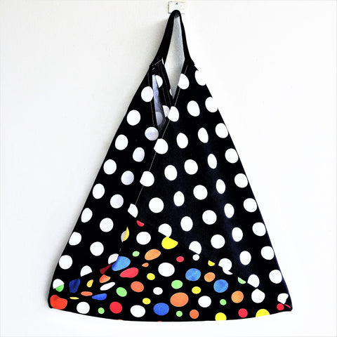 Polka dot canvas tote shopping market shoulder bento bag | Black & White & Colors -  bento bag