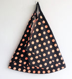 Polka dot shoulder eco friendly tote bento bag | Black & Salmon -  bento bag