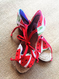 Handmade tie up wedge summer espadrilles | Sandias -  bento bag