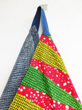 Colroful African fabric tote bag | Lines and African dots -  bento bag