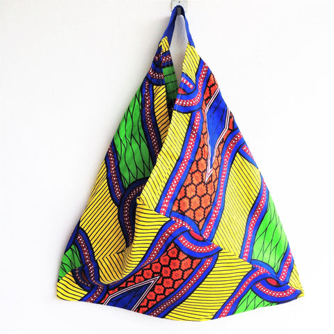 Colorful and unique triangle origami shopping bento bag | Colorful Africa -  bento bag