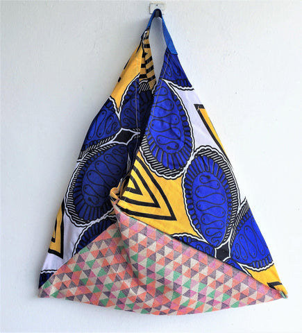 Colorful and original African shopping market bag | Blue & Yellow -  bento bag
