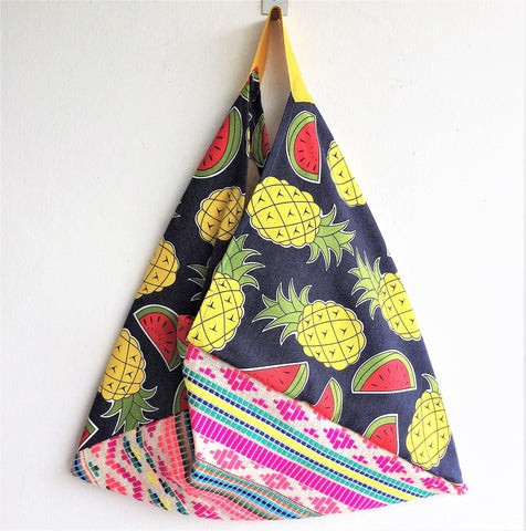 Market shopping tote bag | Pineapple summer bento bag -  bento bag