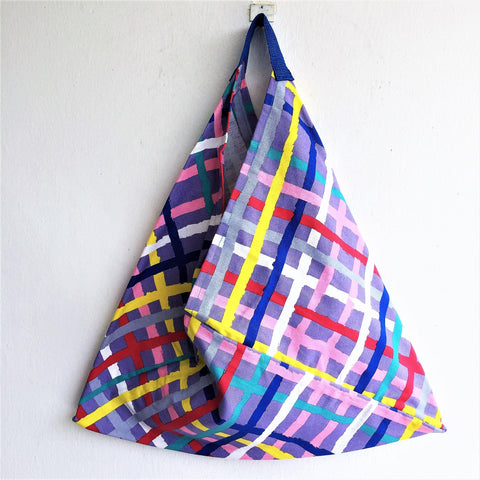 Cool eco friendy foldable origami bento bag | Colorful lines - jiakuma.myshopify.com