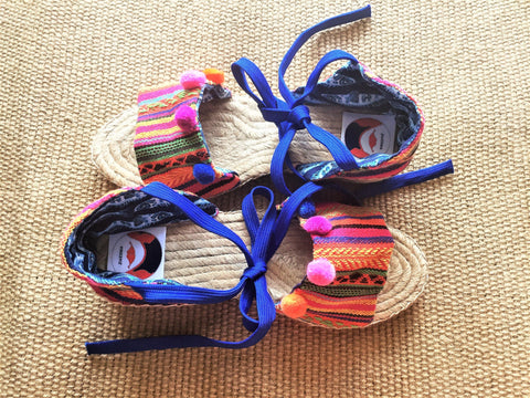 Handmade espadrilles tie up wedges pom pom shoes | boho style -  bento bag