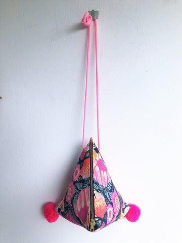 Origami triangle ooak beautiful fabric print japanese inspired shoulder bag | Primavera