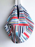 Origami shoulder sac bag , groceries shopping eco bag | Colorful lines