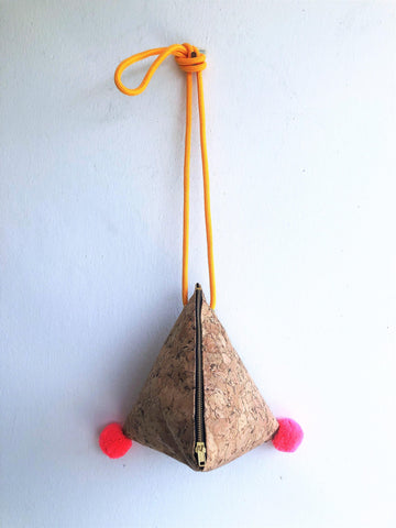 Eco friendly Japanese inspired origami shoulder bag| Cork
