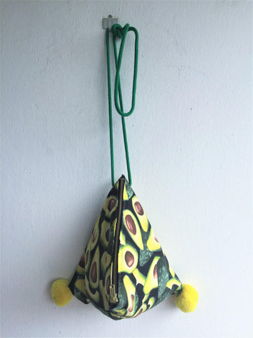 Cute shoulder bag with pom poms handmade triangle shape bag | Aguacates - jiakuma.myshopify.com