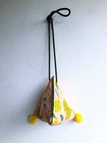Shoulder origami small bag, triangle geometric pom poms bag | Lemons of Amalfi