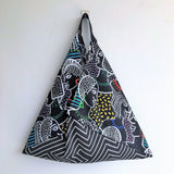 Origami bento shoulder bag, reusable shopping eco handmade bag | Faces of the world