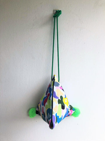 Original small triangle handmade origami bag | Colorful monkeys
