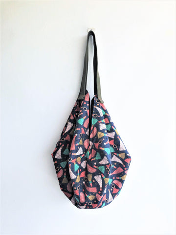 Sac origami shoulder boho bag, ecofriendly groceries shopping bag | Tassels