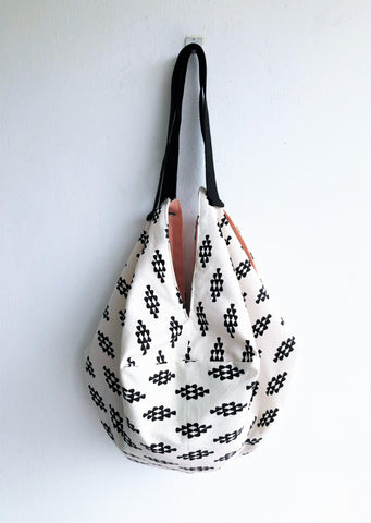 Japanese shoulder handmade bag | Black & White -  bento bag