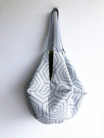 Eco friendly origami sac shoulder bag | White geometry -  bento bag