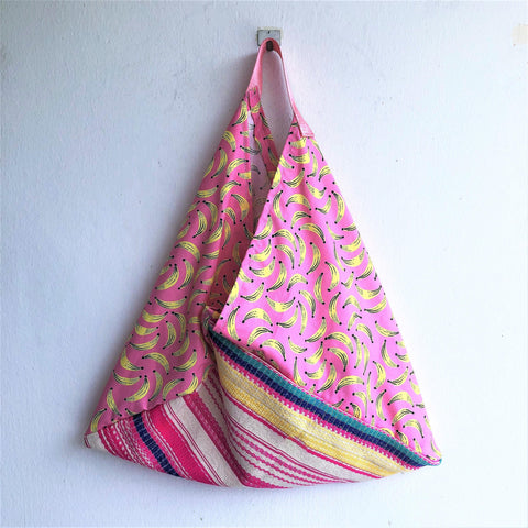 Triangle shoulder origami handmade bag , eco friendly | Tropical bananas