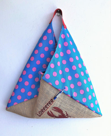 Bento bag, origami triangle shoulder bag , groceries shopping eco bag | La langosta