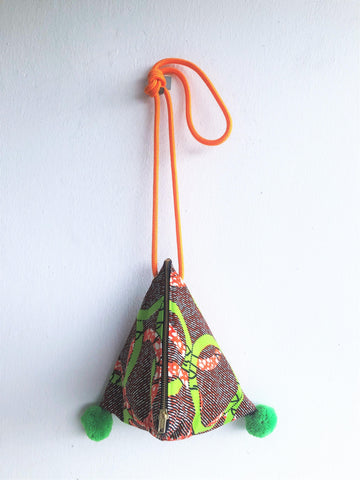 Dumpling triangle origami shoulder bag , cute pom pom eco bag, African textile | Ghana