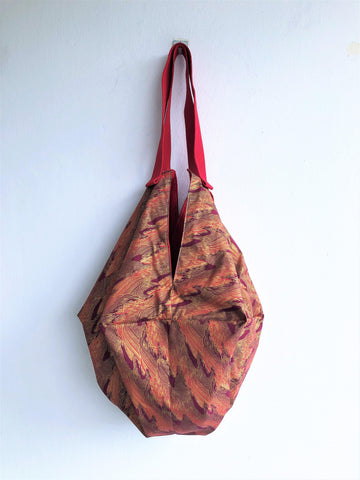 Octagonal origami fabric handmade shoulder bag | Japanese red weaves