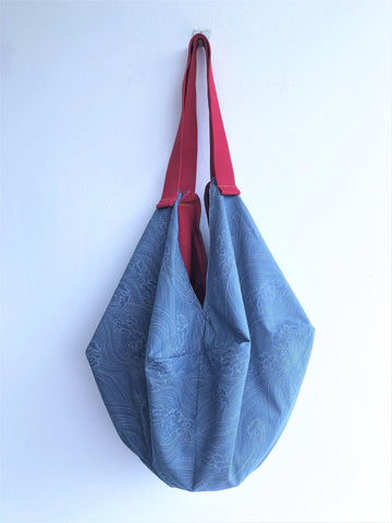 Japanese inspired origami shoulder sac bento bag | Japanese weaves