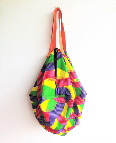 Colorful and unique shoulder fabric sac, origami handmade eco friendly bag | African colorful geometry