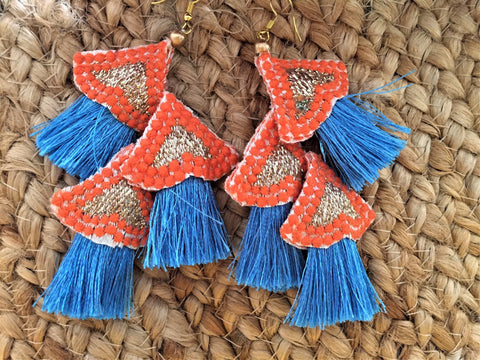 Blue and Orange earrings -  bento bag