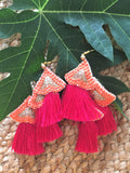 Banana leave earrings -  bento bag