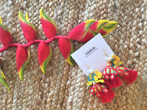 Yellow and red elephant earrings -  bento bag