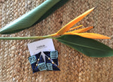 Tropic fleur heliconia earrings -  bento bag