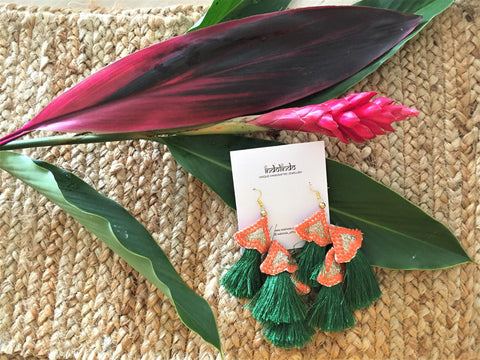Tropical green earrings -  bento bag